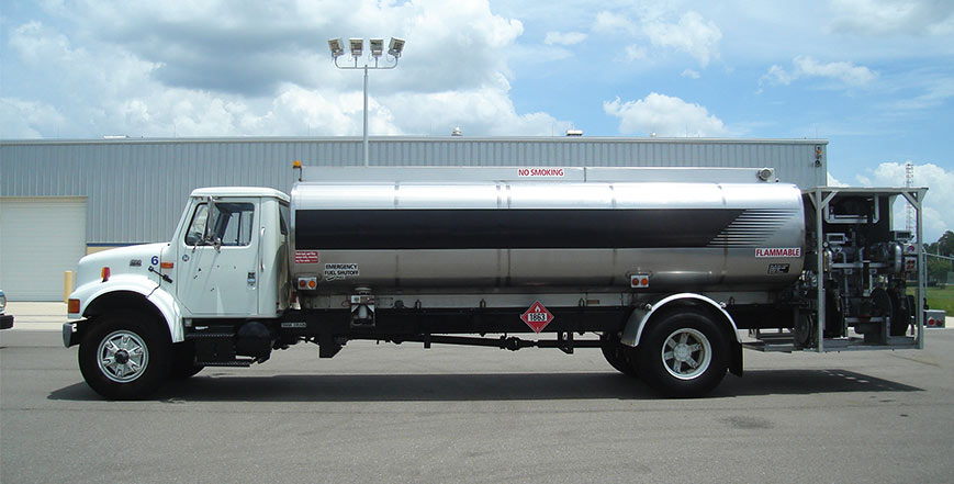 All sizes and shapes of aviation refueling trucks